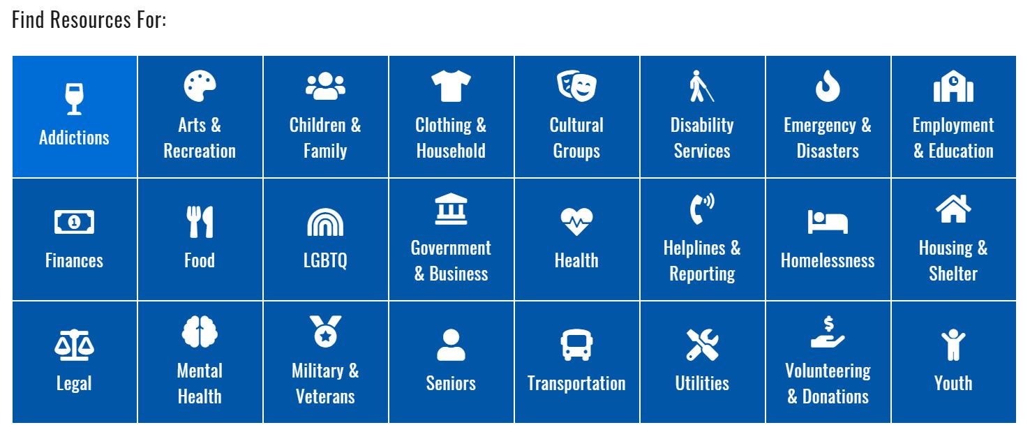 Image of the various services that 211 can provide for.