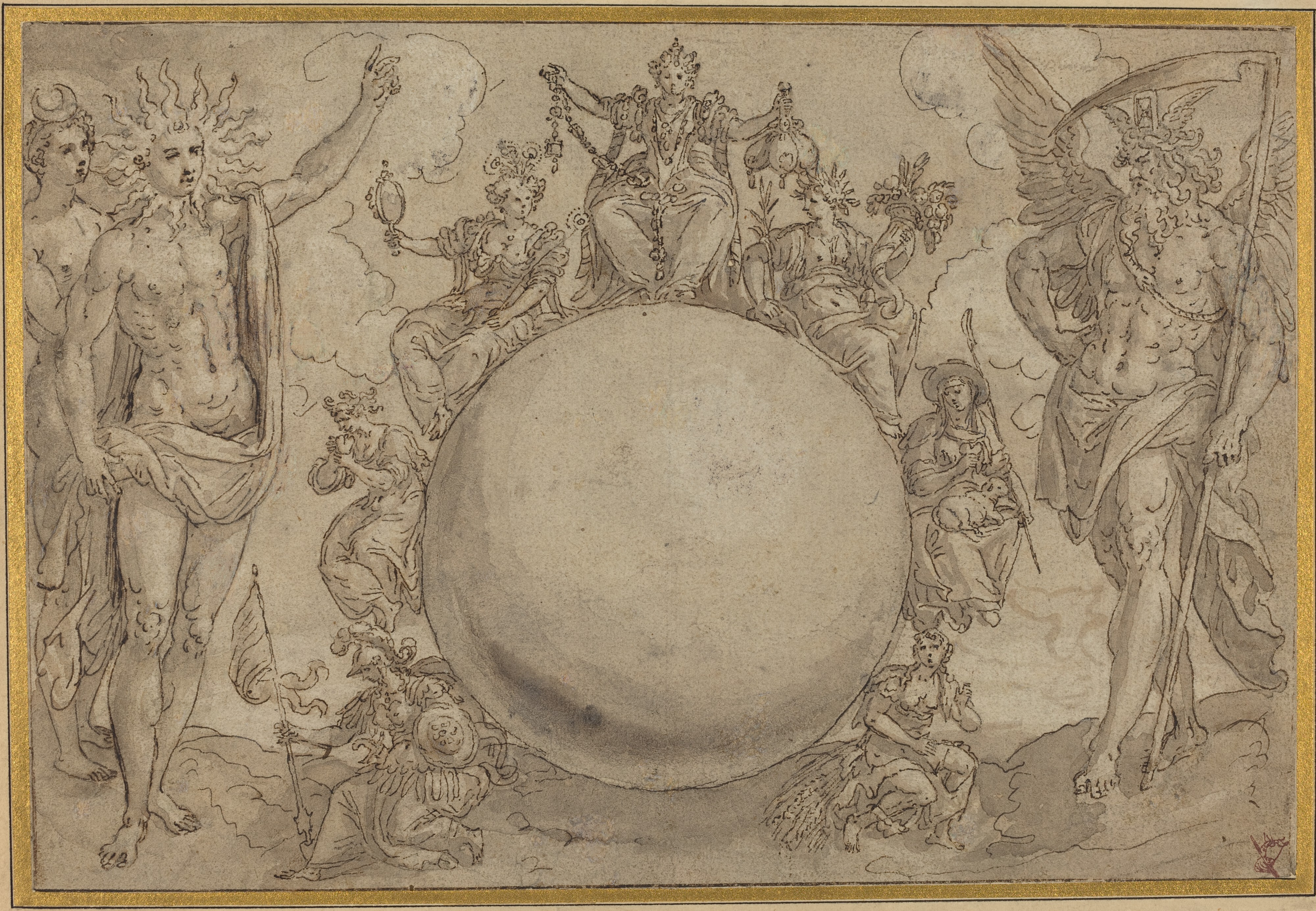 Apollo, Diana, and Time with the Cyclic Vicissitudes of Human Life, c. 1561, by Maarten de Vos