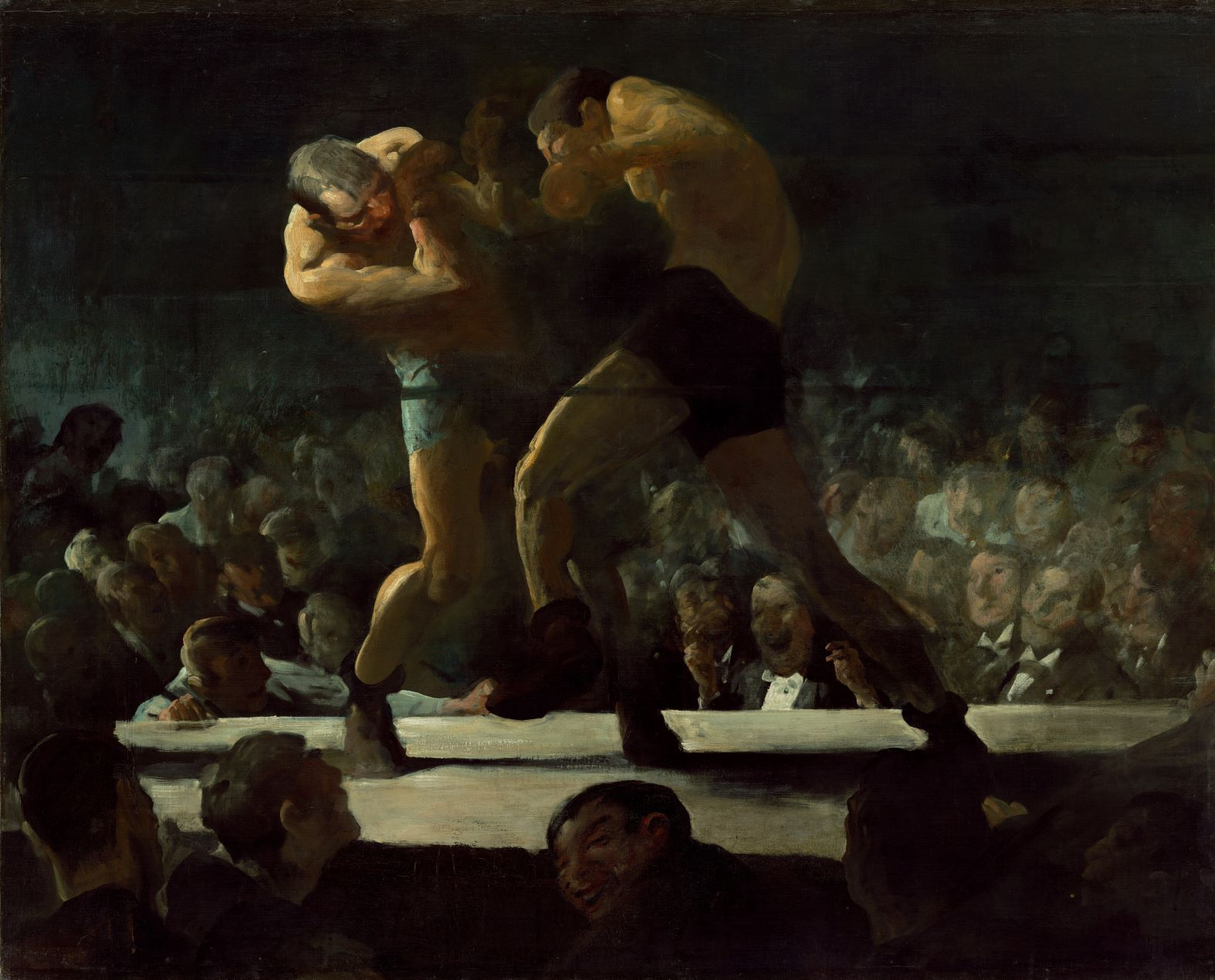 """George Bellows's paintings devoted to boxing were among the most popular pictures he produced during his lifetime and remain so today. Executed in August and September 1907, Club Night is the first of three similar boxing subjects that Bellows painted early in his career, from 1907 to 1909. Club Night represents a fight at an athletic club in New York City owned by Tom Sharkey, a former heavyweight champion. The enactment of the Lewis Law in 1900 prohibited boxing in New York State, but Sharkey and others circumvented the law by staging bouts in their private """"clubs,"""" where attendees paid membership dues instead of admission fees to a particular fight, allowing them to legally gamble on matches. The public's generally positive response to this controversial subject reflected an ambivalent attitude toward the sport. Some regarded boxing as a savage, brutal pastime, but many thought it a natural manifestation of masculinity. When criticized for not accurately representing certain technical aspects of the sport, Bellows responded, """"I don't know anything about boxing. I'm just painting two men trying to kill each other."""""""