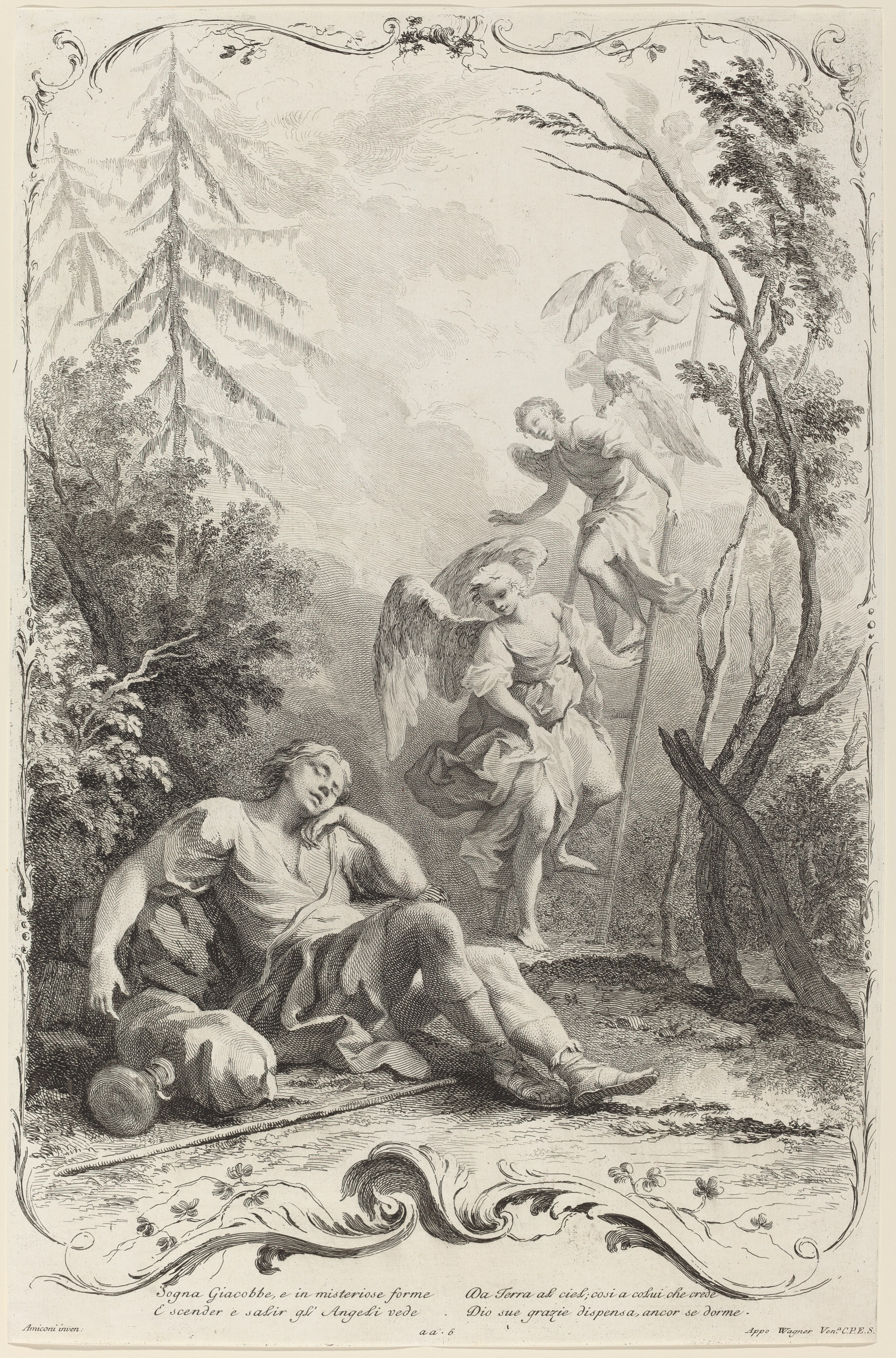 Jacob's Ladder, c. 1745, by Joseph Wagner (publisher) after Jacopo Amigoni