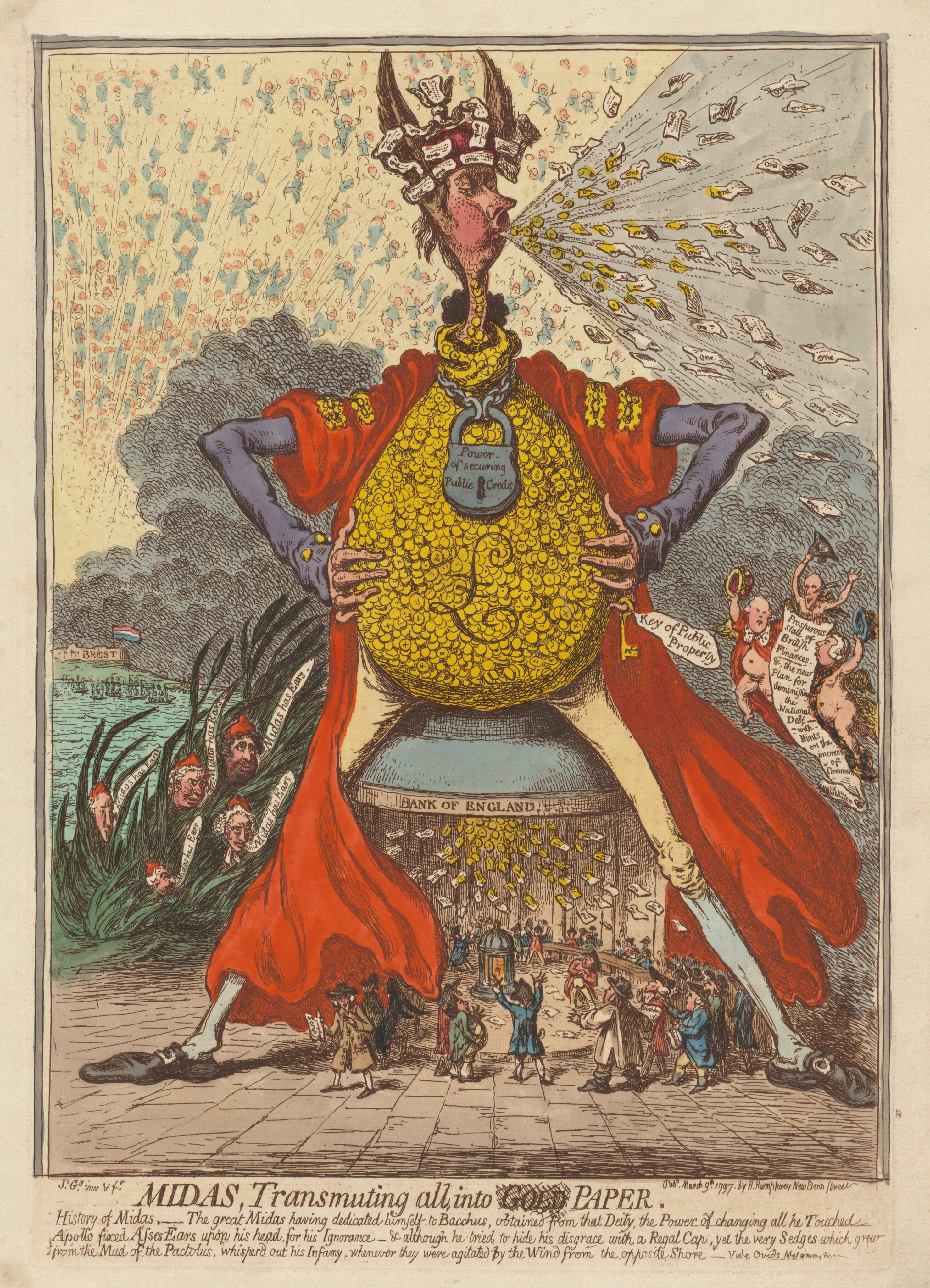 Midas, Transmuting All into Paper, 1797, by James Gillray