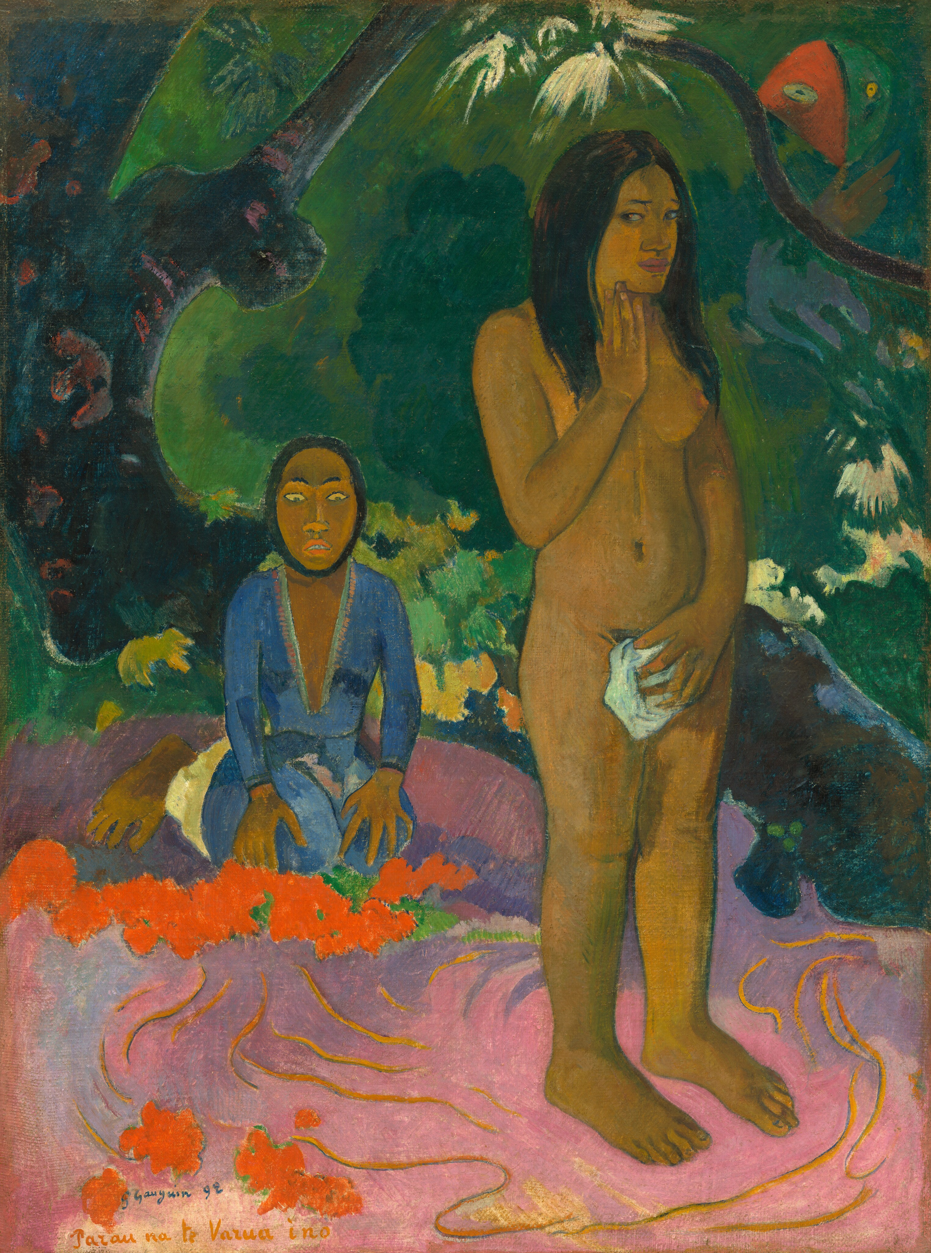 Lured to Tahiti in 1891 by reports of its unspoiled culture, Gauguin was disappointed by its civilized capital and moved to the countryside, where he found an approximation of the tropical paradise he had expected. The Tahiti of his depictions was derived from native folklore supplemented by material culled from books written by earlier European visitors and overlaid with allusions to western culture. The pose of the standing nude, for instance, is derived from a medieval statue of the biblical Eve and more distantly from the Venus Pudica of classical sculpture. The artist placed this rich combination of references to original sin, the loss of virginity, and occidental standards of beauty and art within the context of his Tahitian mythology and primitive, non–European aesthetics.  The meaning of the title Parau na te Varua ino is unclear. The phrase varua ino, evil spirit or devil, refers to the masked kneeling figure and parau means words, suggesting the interpretation