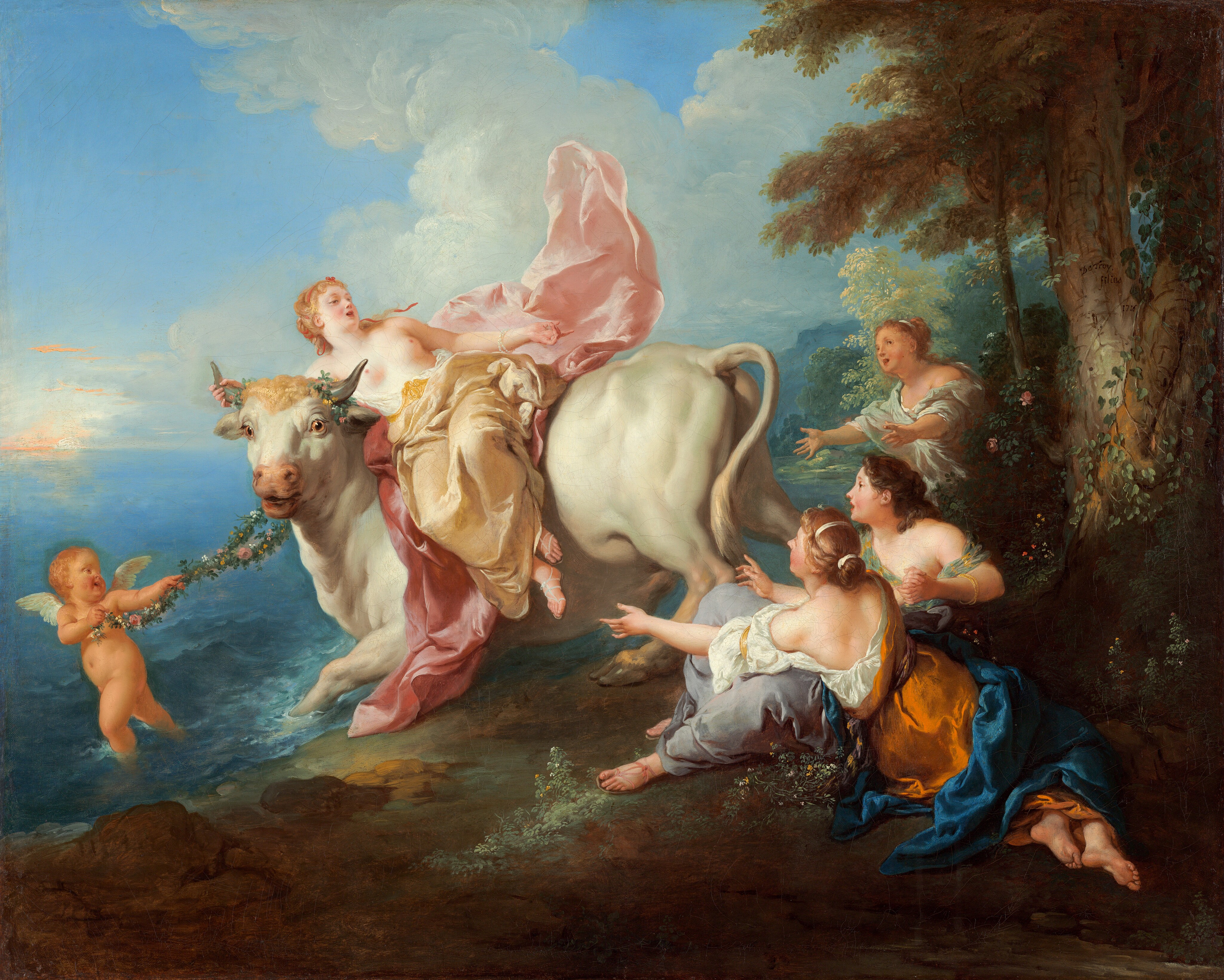 This delightful painting by Jean-François de Troy, one of the leading painters in Paris in the first half of the 18th century, portrays the climactic moment from Ovid's story in Metamorphoses—the Abduction of Europa. Jupiter has transformed himself into a handsome bull to lure the lovely princess Europa onto his back and carry her away to Crete where she would bear him three sons. From Rembrandt to Claude Lorrain to Paul Gauguin, this seminal story captured the imagination of European artists for centuries. Painted in rich colors with the light, refined brush characteristic of the works of de Troy's fellow members of the Académie Royale de Peinture et de Sculpture, Antoine Watteau and FranÃ\u0083§ois Boucher, this painting offers a classical mythological subject in a rococo style that gracefully compliments the National Gallery's collection.