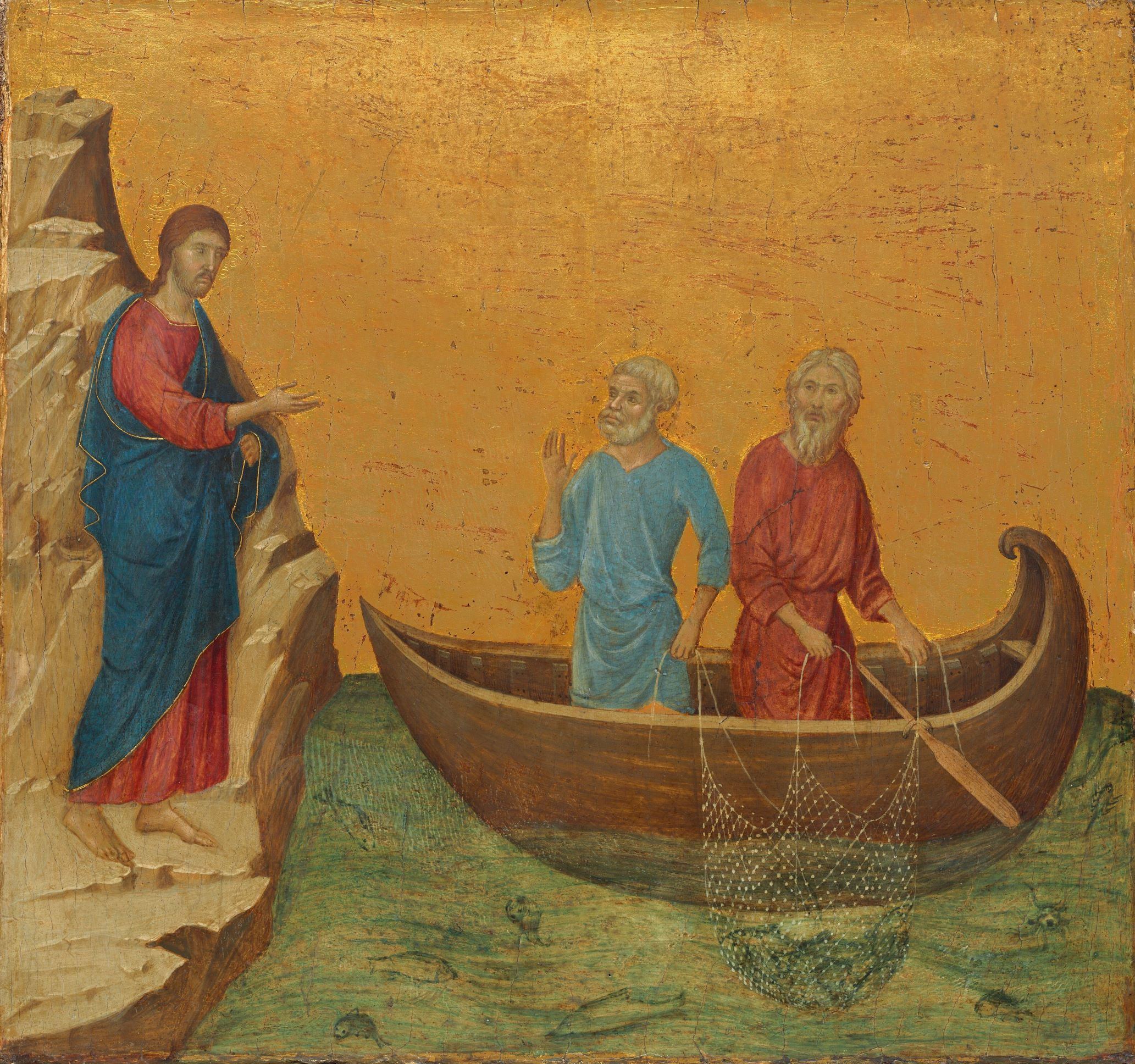 """This panel was located on the back of the altarpiece, where the imagery was devoted to Christ's Passion and his mission as teacher—apt subjects for the rear panels, which would have been seen only by clergy standing behind the altar. Here we find Jesus calling his first disciples. He approaches two fishermen at work on the Sea of Galilee: Simon, called Peter, and his brother Andrew. Their net is full when Jesus says to them: """"Follow me, and I will make you fishers of men"""" (Matthew 4:18)."""
