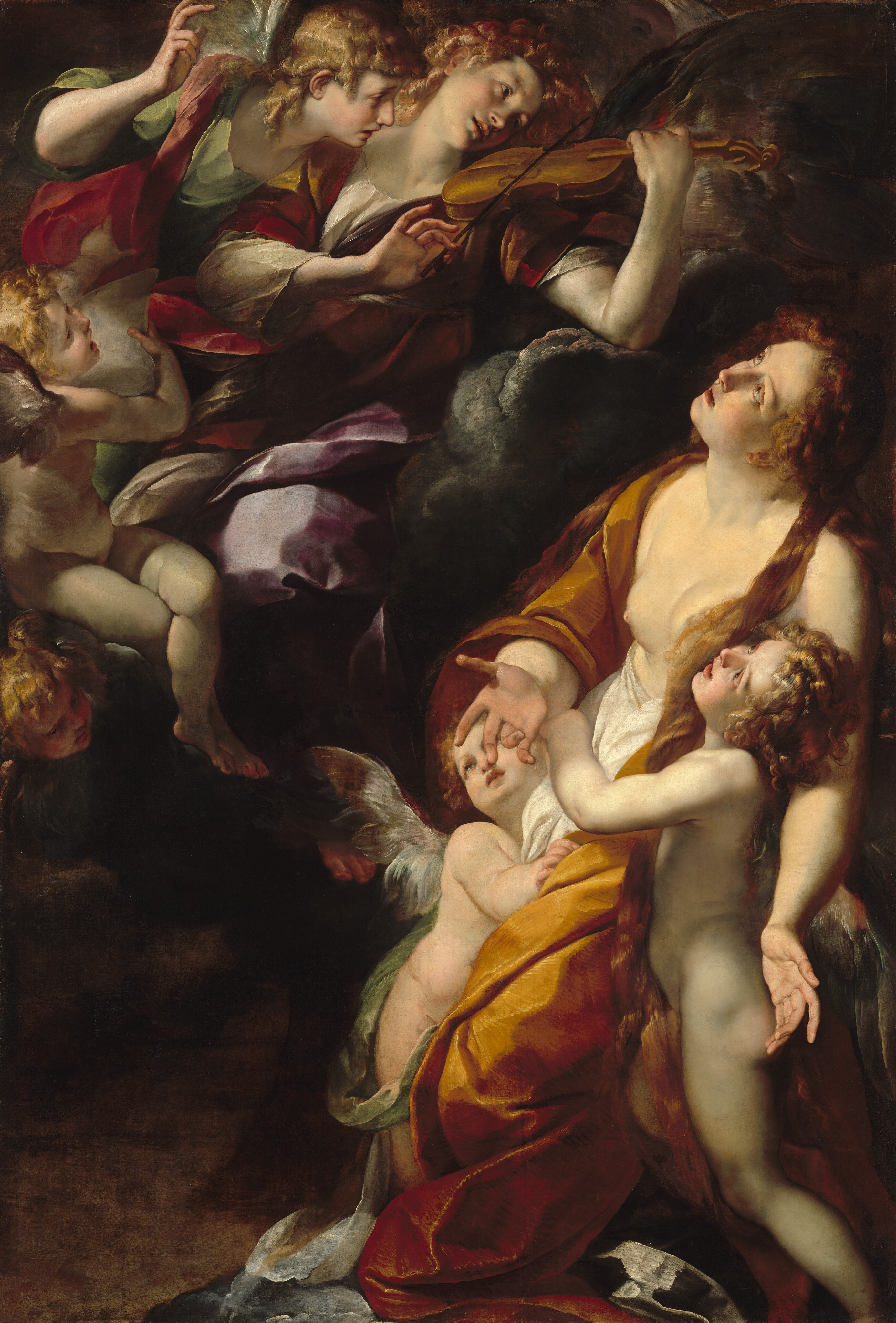 Mary Magdalen swoons in ecstasy as she is supported by winged putti below a group of refined celestial music-making angels. The two figure groups are united through gesture, glance, and expression to form one of Procaccini's most successful compositions.