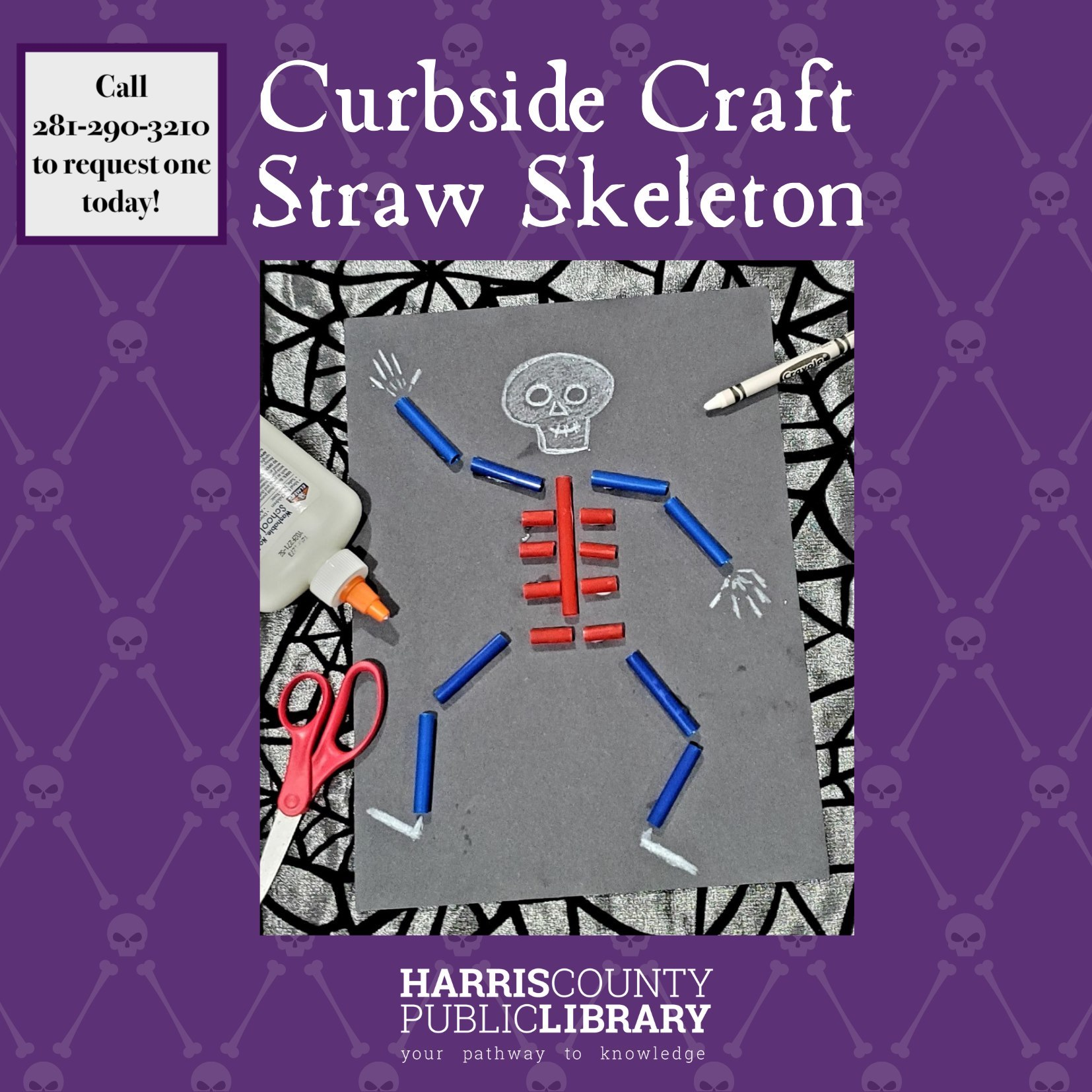Straw Skeleton Craft call 281-290-3210 to request one today