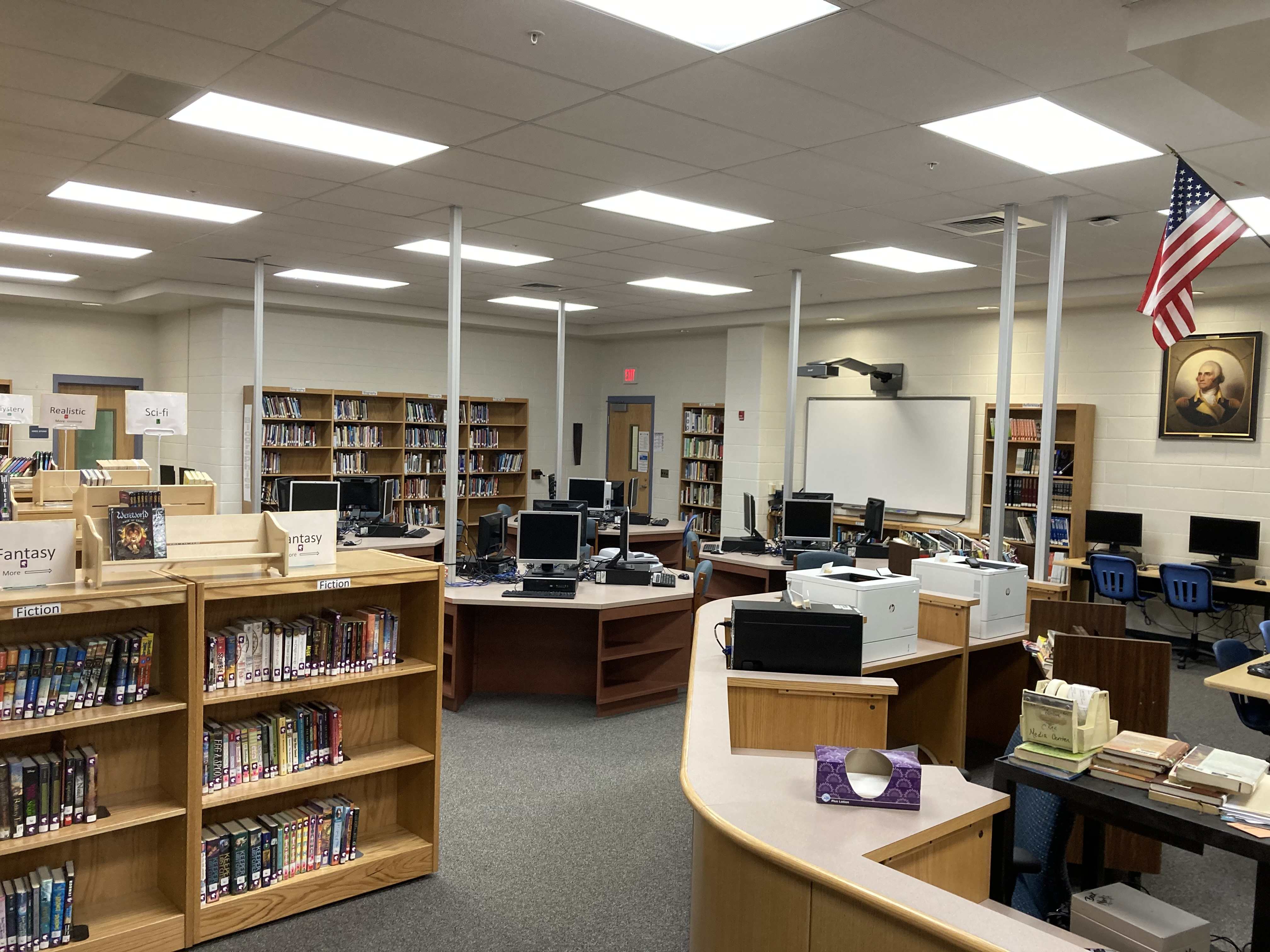 view of computers available in the library