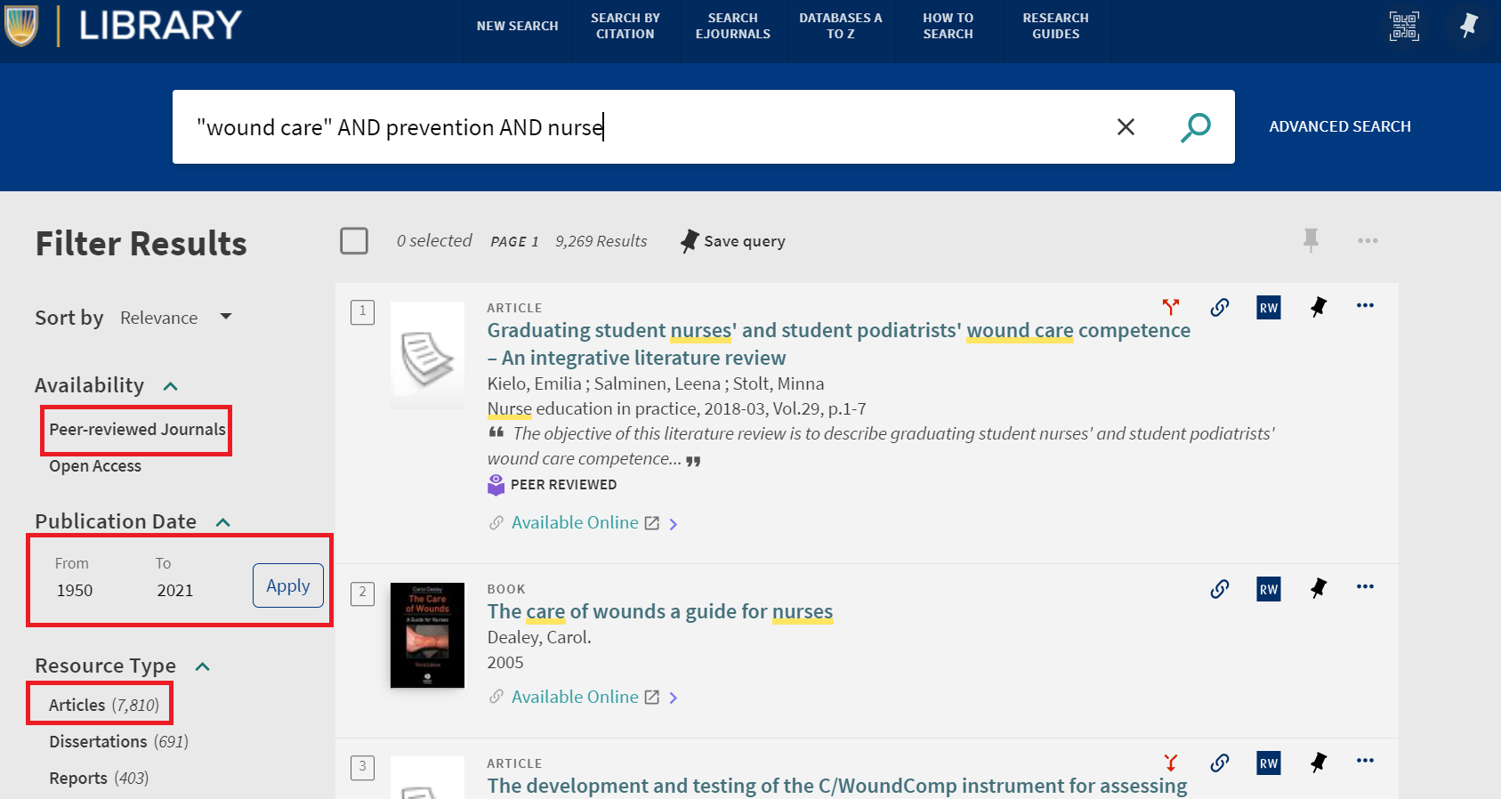 Keyword search example for wound care prevention in nursing from Search Everything box on the library homepage
