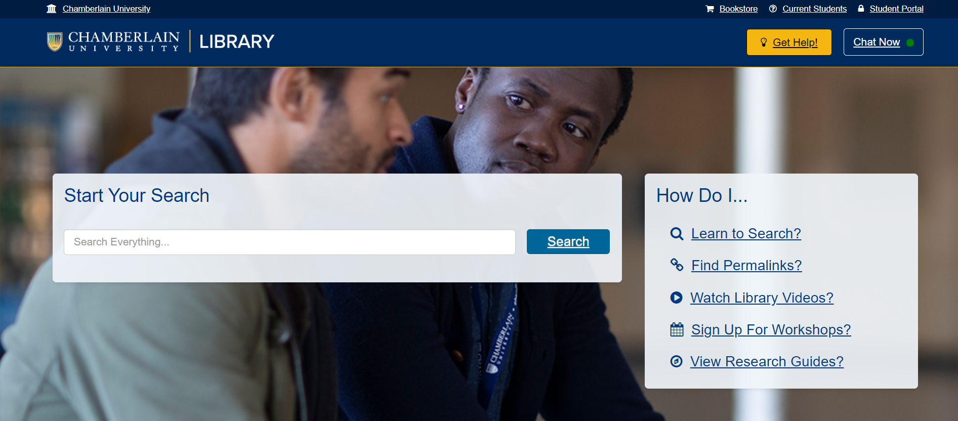Search Everything system on the Chamberlain Library homepage
