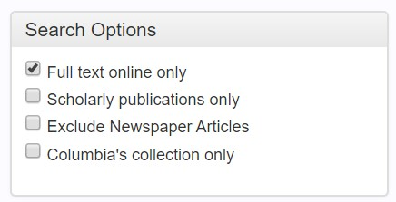"Search options box showing ""full text online only"" selected"