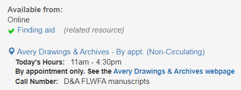 Drawings and Archives location shown in CLIO record