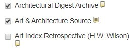 EBSCO database list showing architecture databases selected