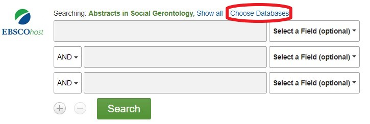 "EBSCOhost search page showing ""Choose Databases"" circled in red."