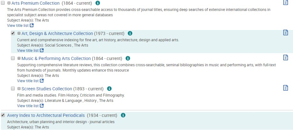 ProQuest databases showing Art, Design & Architecture Collection and Avery Index selected