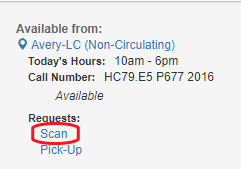 CLIO record showing scan link circled in red.