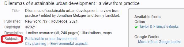 CLIO record for Dilemmas of sustainable urban development book with subject field circled in red.