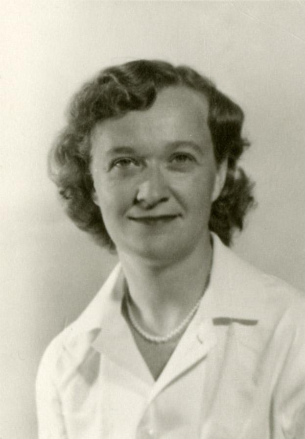 Black and white portrait of Ellen Cook Jacobsen, wearing pearls