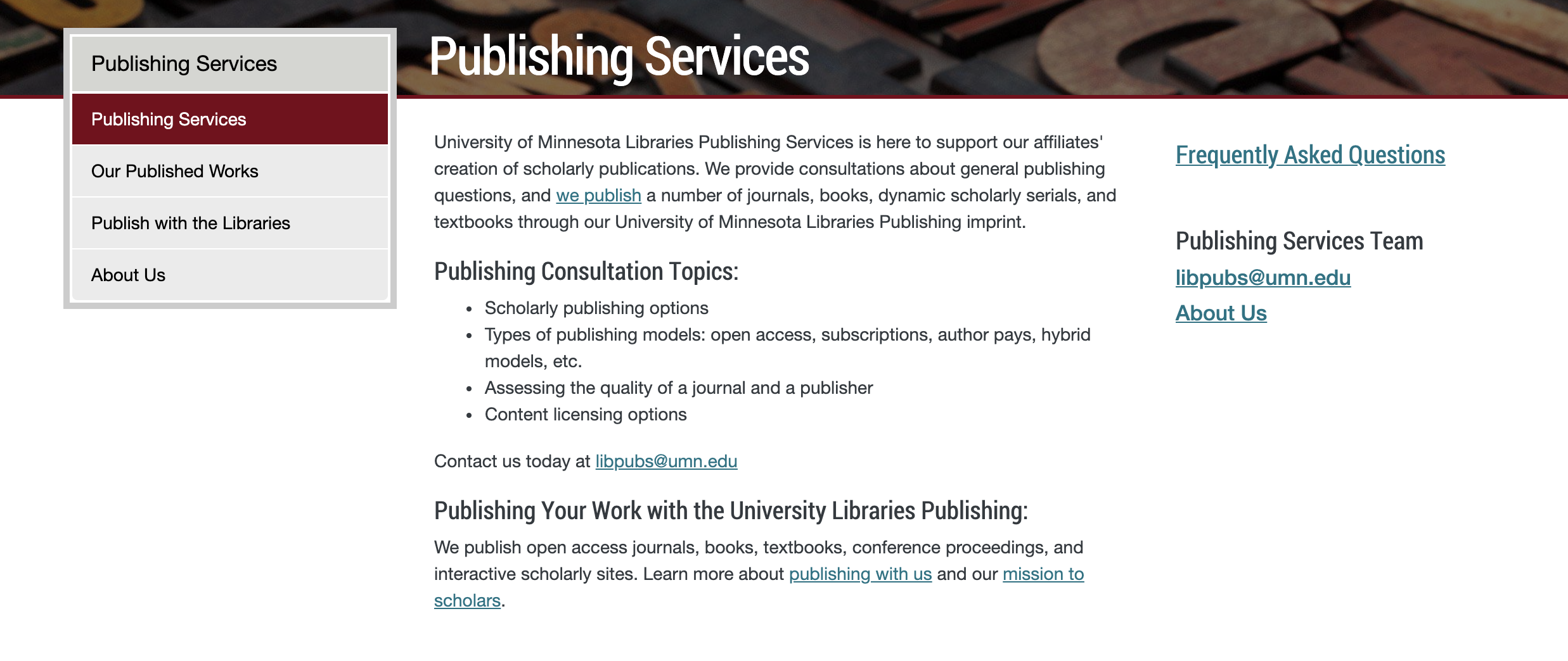 University of Minnesota Publishing Services