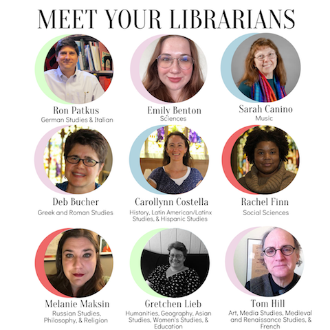 Photos of Vassar librarians with their names and subject areas