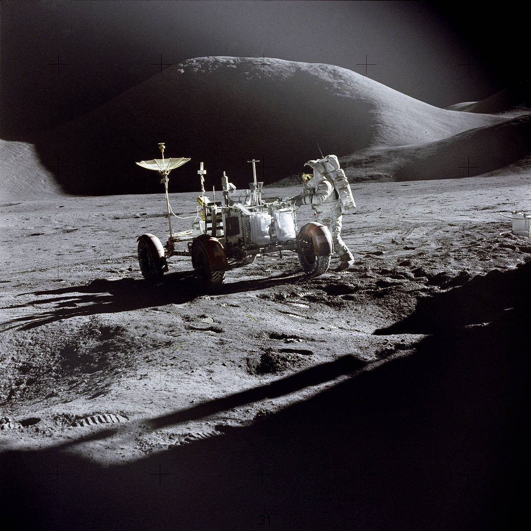 Astronauts Deploy First Lunar Roving Vehicle, July 31, 1971 (NASA)