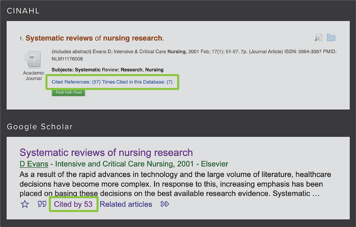 image of citation searching in CINAHL and Google Scholar