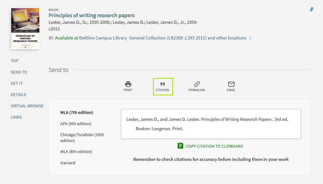Screenshot of Book Record with Cite Highlighted
