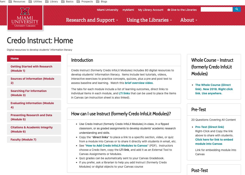 A screenshot of the Credo Instruct LibGuide