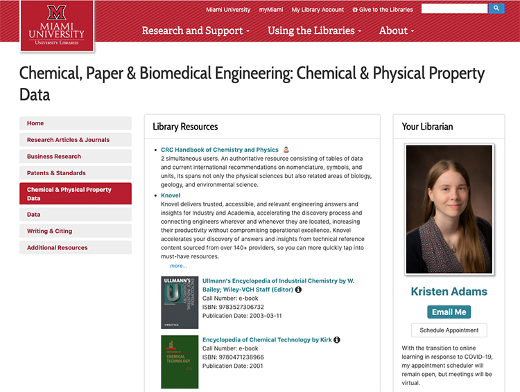 A screenshot of the Chemical, Paper, and Biomedical Engineering LibGuide