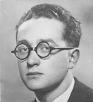 A black-and-white portrait of Robert Diamant as a young man