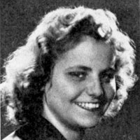 A black-and-white portrait of Hedi Pope (nee Politzer) as a young woman