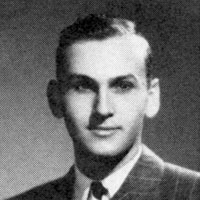A black-and-white portrait of Myron Shure as a young man
