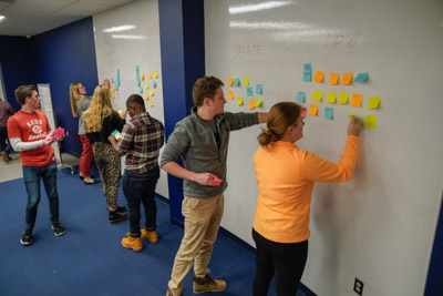 Miami University undergraduate students participate in a brainstorming session for the Libraries' strategic plan. Students are standing at a whiteboard wall in King 134 (AIS), putting up multicolored post-it notes