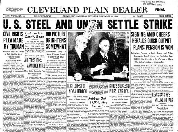 Cover of the Cleveland Plain Dealer newspaper with articles written in vertical columns down the page and large text headlines