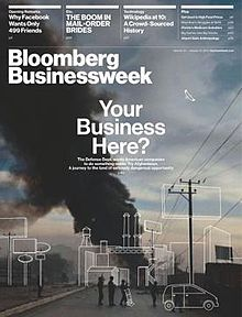 Cover image of Bloomberg Businessweek with business related topics listed