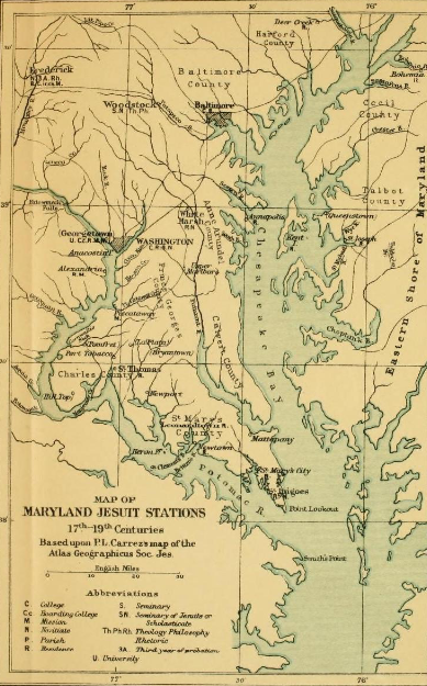 Map of Maryland Jesuit Stations, 1917