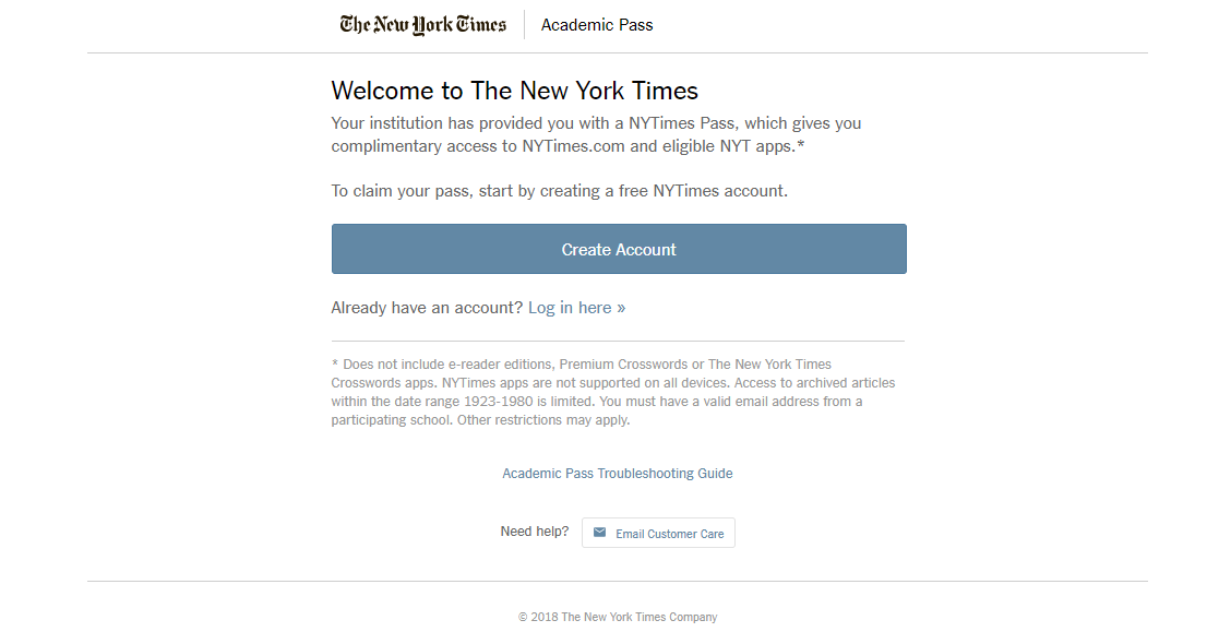 New York Times Academic Pass Registration Page