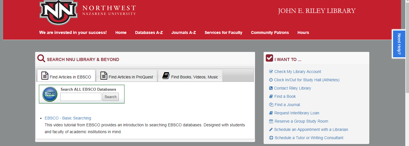 search boxes: find an article in EBSCO, find an article in ProQuest