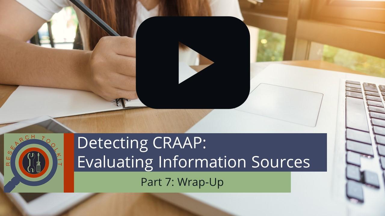 Evaluating Information Sources Part 7