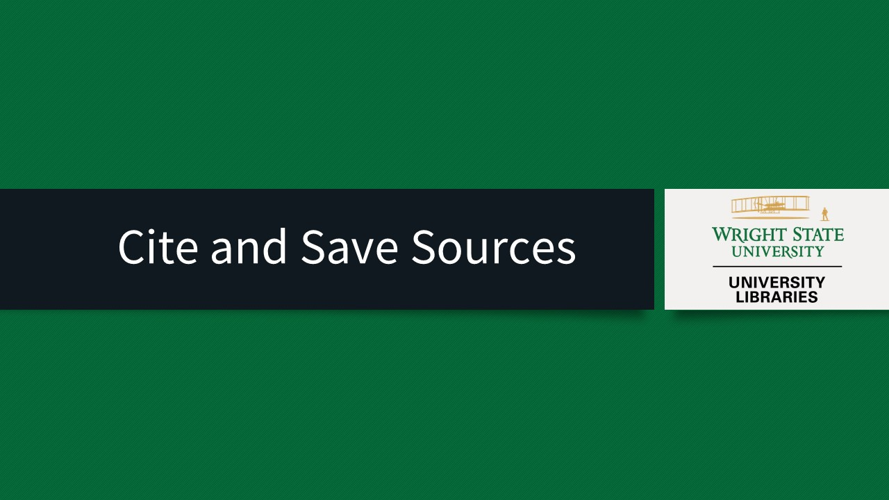 Cite and Save Sources