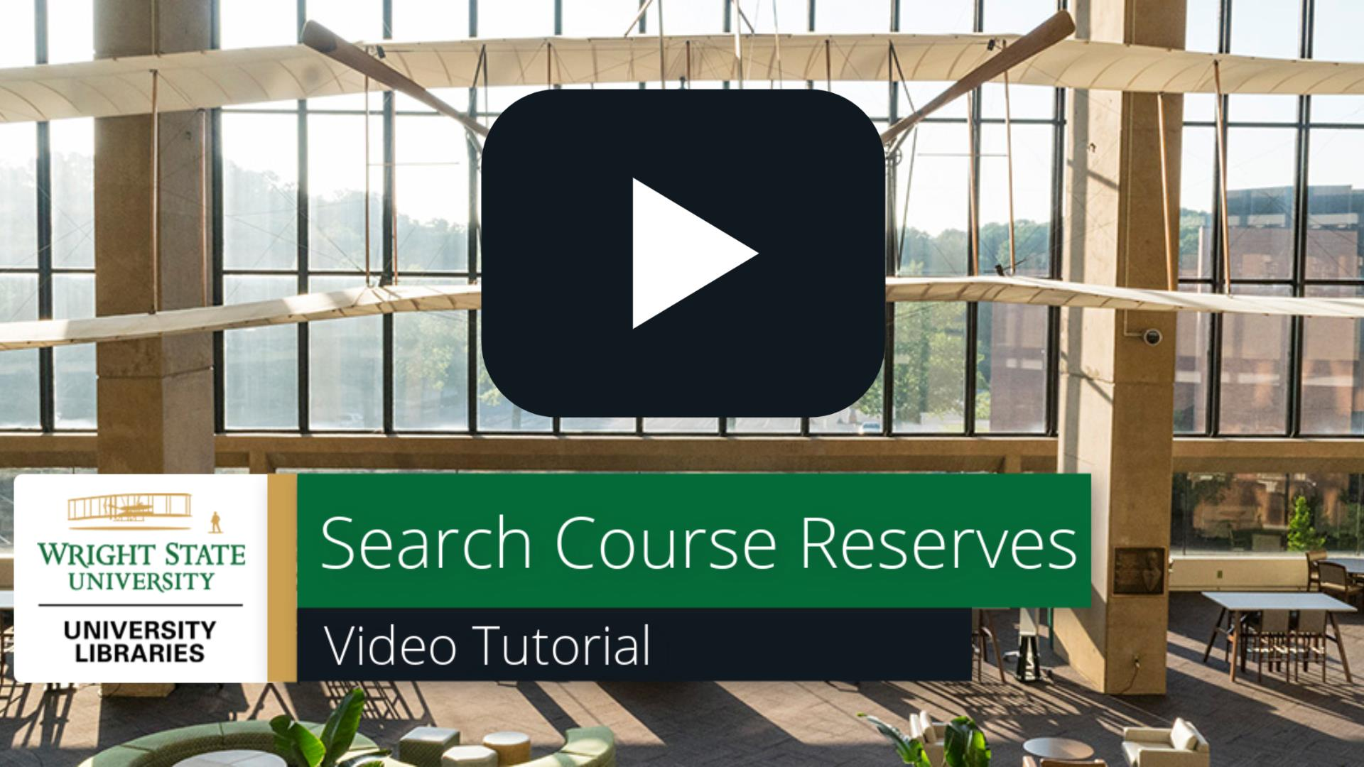 Search Course Reserves: Video Tutorial