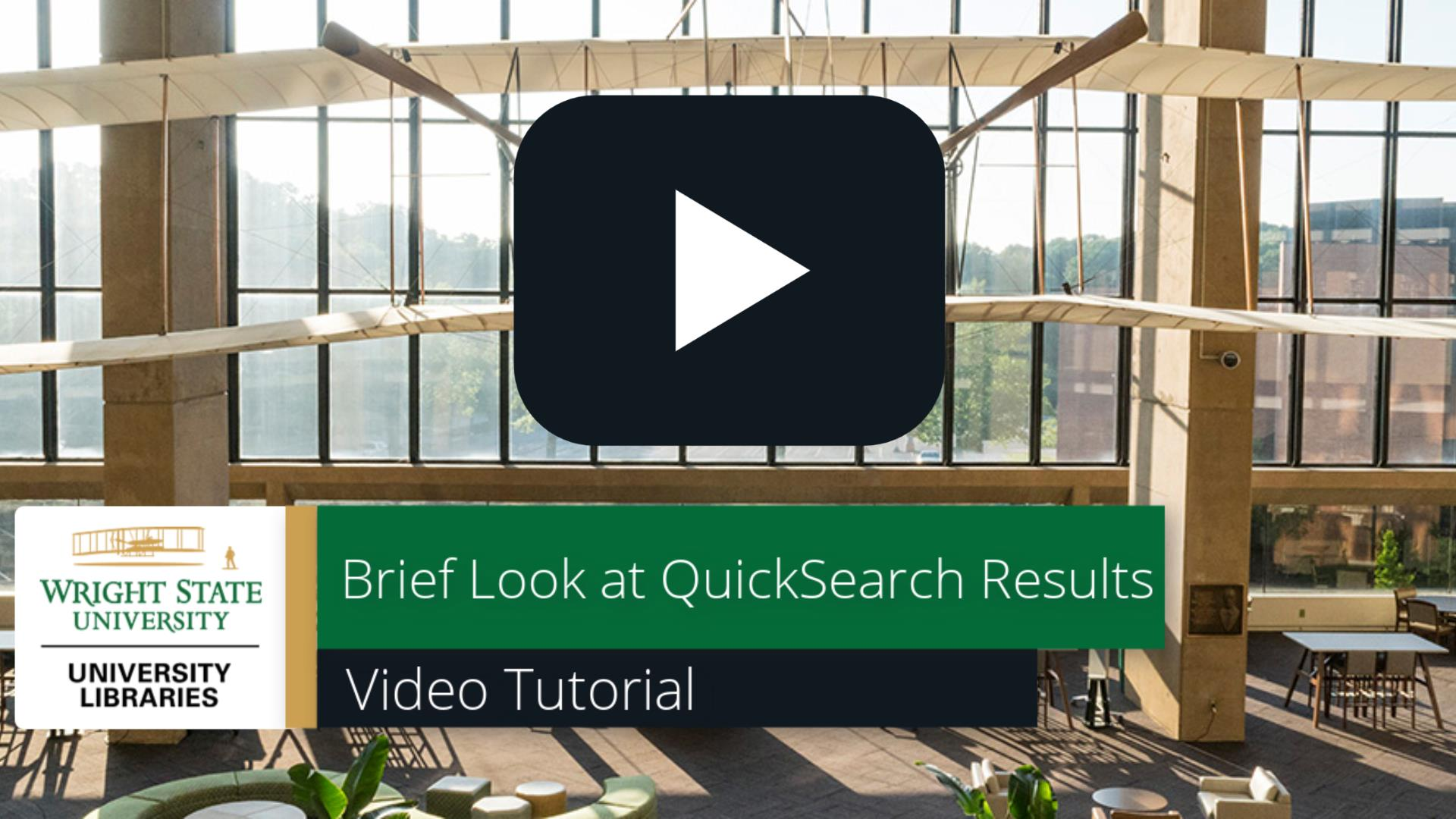 Brief Look at QuickSearch Results: Video Tutorial