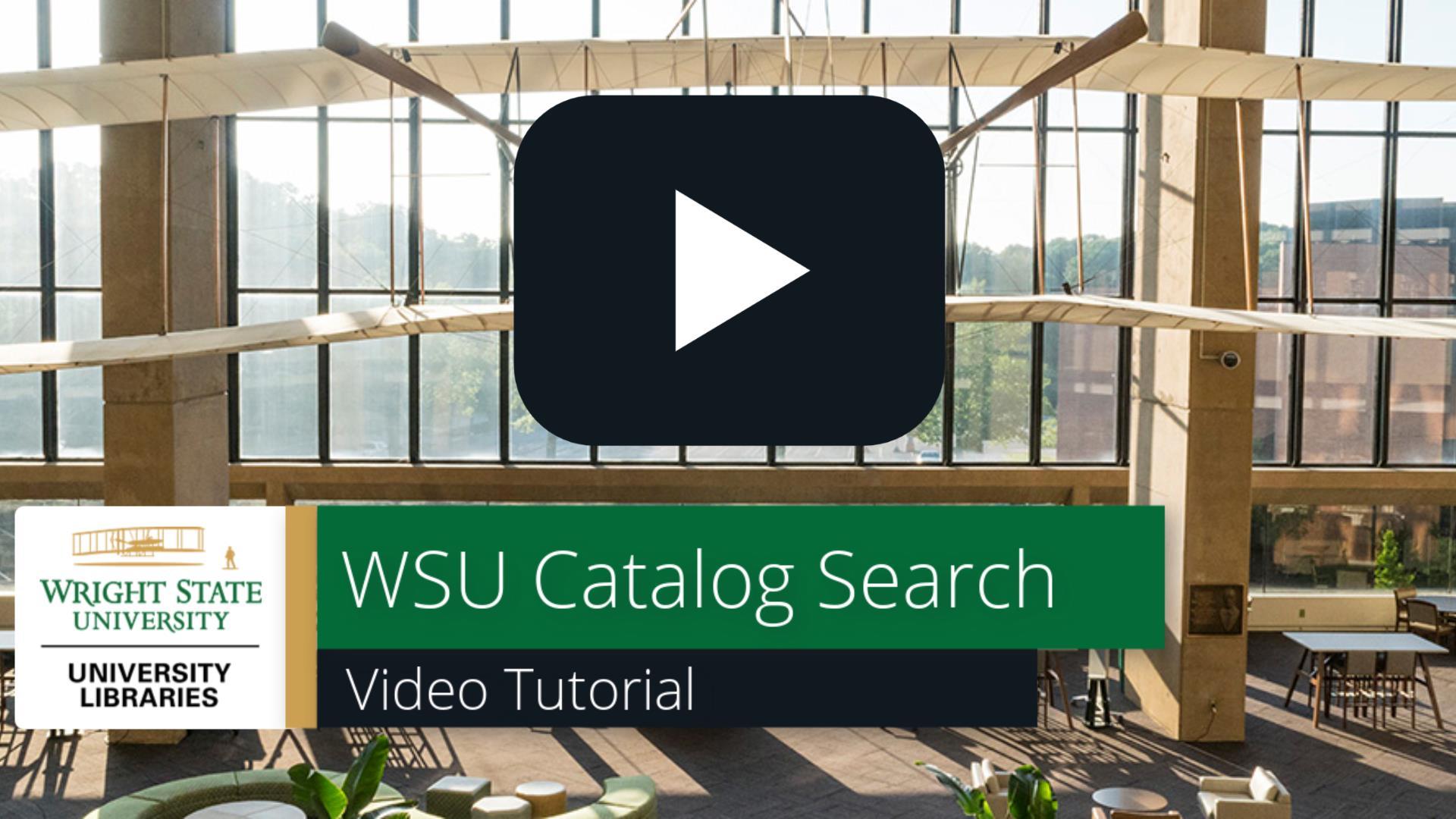 WSU Catalog Search: Video Tutorial