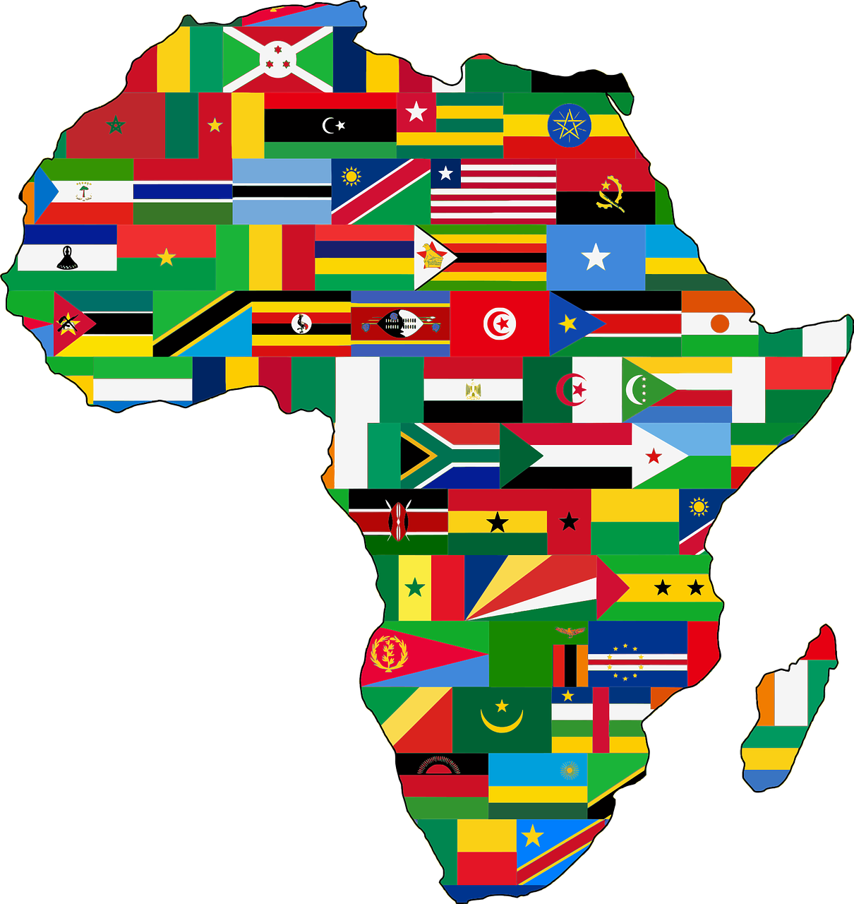 Map of Africa with the individual countries represented by their flags.