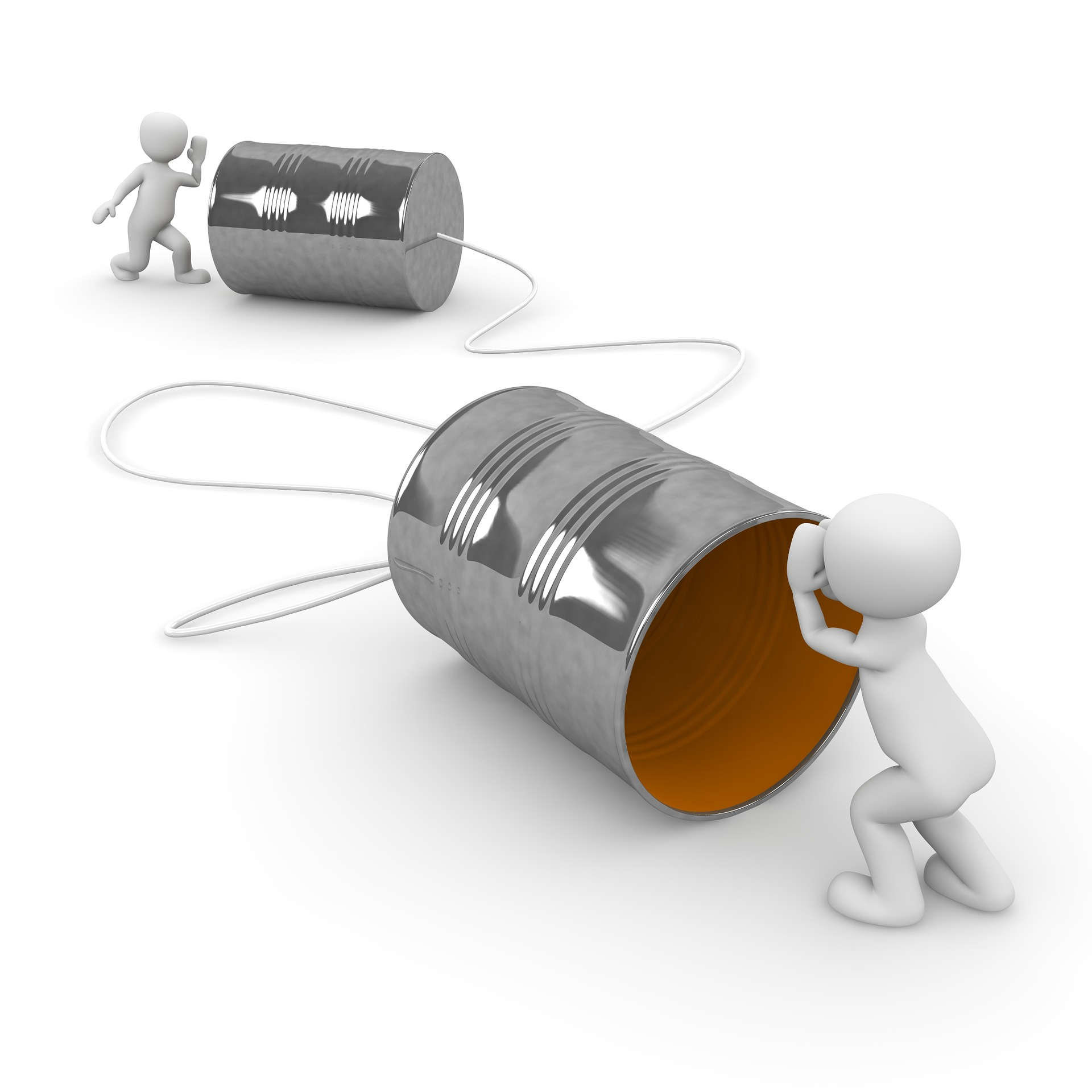 Two people talking using two cans tied with string