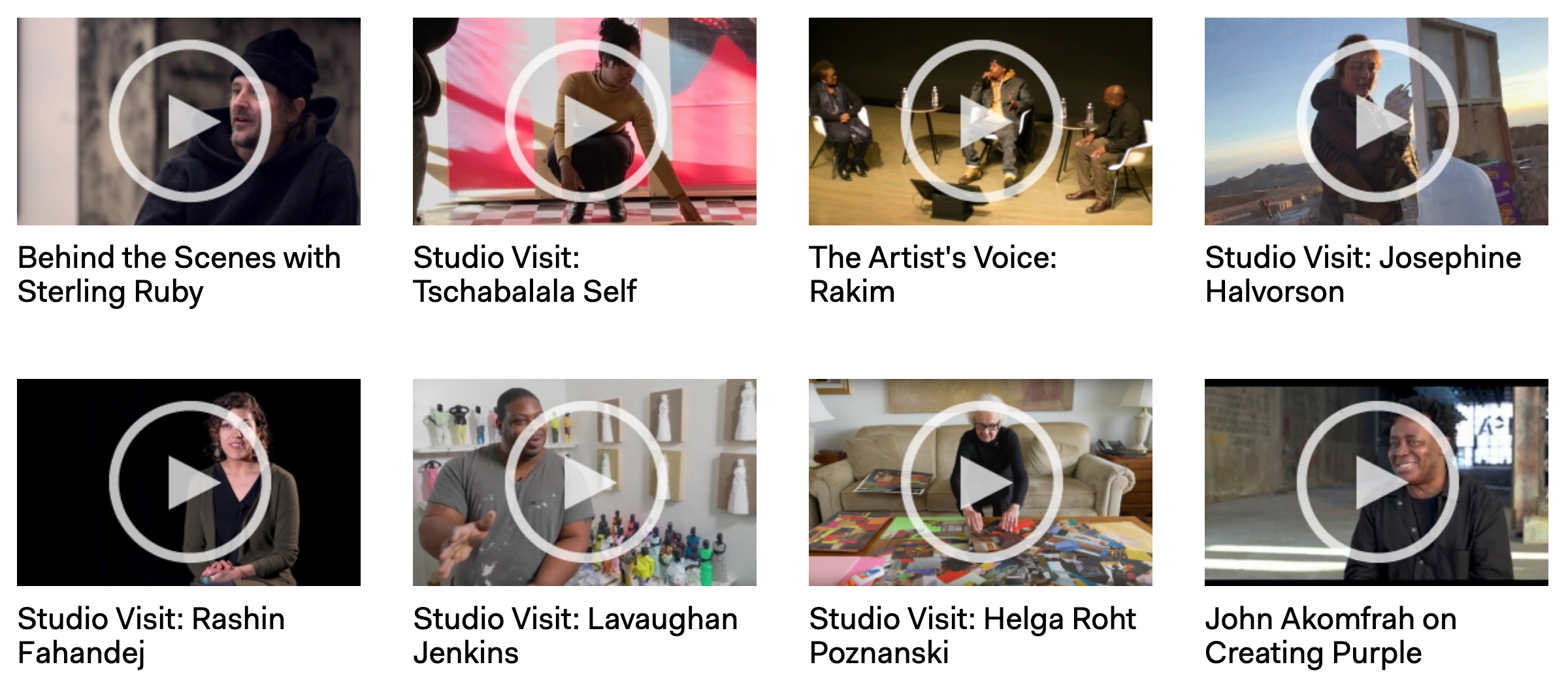 Two rows of screenshots showing stills of artist interview videos that are available to watch on ICA Boston's website.