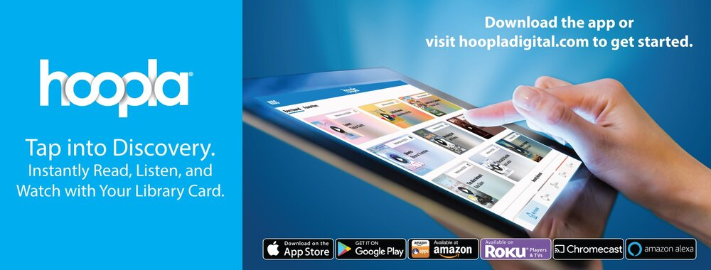 Hoopla logo featuring an image of abstract hands scrolling down through Hoopla on an iPad.
