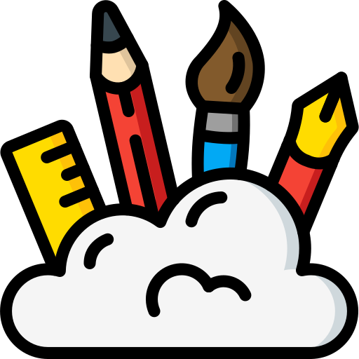 Flat icon of a cloud with a rule, pencil, paint brush, and fountain pen