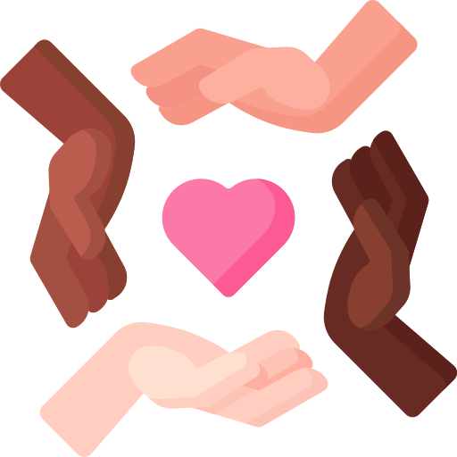 flat icon hands and heart