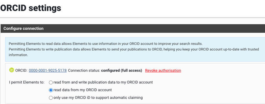 the menu for configuring the ORCID connection
