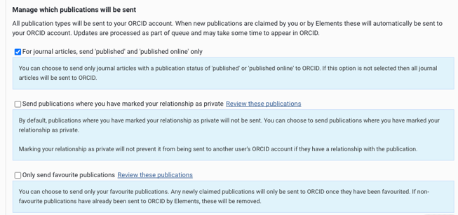 the menu display for the three options for publications to be sent to ORCID